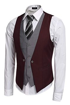 Men's Clothing, Suits & Sport Coats, Coofandy Men's V-Neck Sleeveless Slim Fit Jacket Business Suit Vests - Wine Red - Source by clothing styles Mens Suit Vest, Men's Waistcoat, Mens Suits, Western Outfits, Chaleco Casual, Wedding Vest, Party Wedding, Mode Man, Slim Fit Jackets