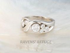 bezel set bubble diamond ring in 14k white gold  artisan