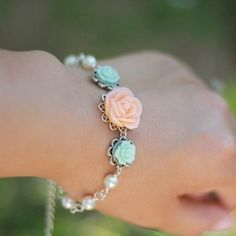 Peach Rose and Pastel Green Roses with Ivory by RusticGem on Etsy, $35.00