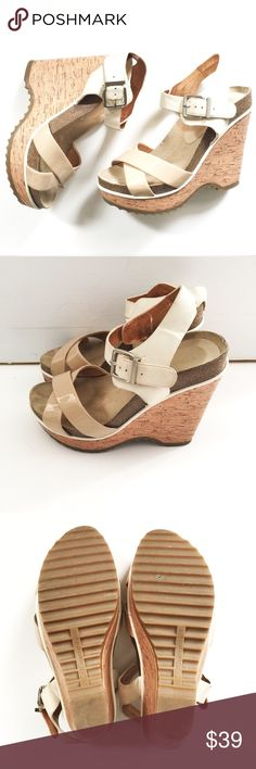 BCBG wedge sandals size 7.5 Gently worn BCBG sandals in size 7.5, tan and white cork...super comfy BCBGeneration Shoes Wedges