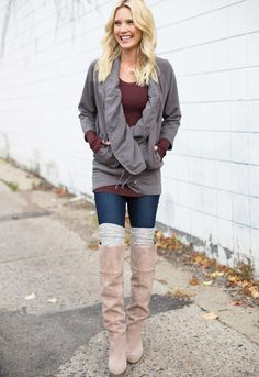 Such a cute and cozy outfit! Love the over-the-knee boots/socks! #cozyUP