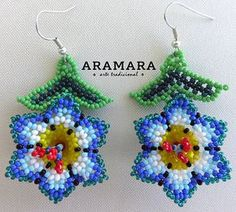 Your place to buy and sell all things handmade Kids Earrings, Seed Bead Earrings, Flower Earrings, Beaded Earrings, Loom Beading, Beading Patterns, Bead Jewellery, Beaded Jewelry, Bead Sewing