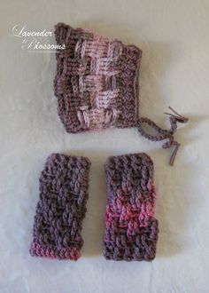 Pixie bonnet and Legwarmers Crochet hat and by LavenderBlossoms, $32.00