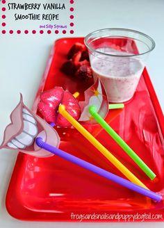 Carnation Breakfast Essentials Strawberry Vanilla Smoothie Recipe And Silly Straws  #BreakfastEssentials #PMedia and #ad