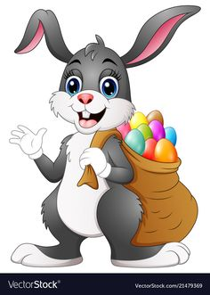 Vector illustration of Easter bunny rabbit with easter eggs a sack of full Easter Bunny Cartoon, Easter Bunny Images, Easter Cartoons, Cute Easter Bunny, Easter Paintings, Rabbit Illustration, Cartoon Drawings Of Animals, Bunny Rabbit, Easter Eggs
