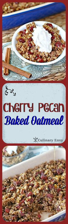 This Cherry Pecan Baked Oatmeal tastes like a warm oatmeal cookie, studded with chopped roasted pecans and lightly sweetened with dried cherries and brown sugar. It is a warm, satisfying heart-healthy yummy breakfast your family will love.