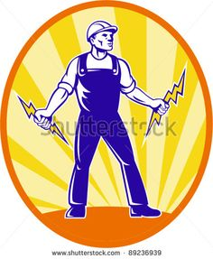 Illustration of  power lineman electrician repairman worker holding electric lightning bolt viewed from front with  sunburst in background set inside ellipse done in retro style. - stock vector #electrician #retro #illustration