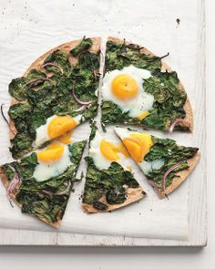 This looks good- spinach and eggs on whole wheat flatbread.  Would change out onions for garlic or fennel