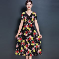 new women dress elegant one-piece summer dress floral print plus size women clothing vestidos femininos