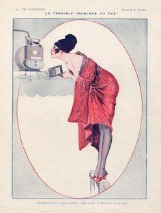 Georges Léonnec (1881-1940). Le terrible problème du gaz. La Vie Parisienne, 1917. [Pinned 28-i-2015]