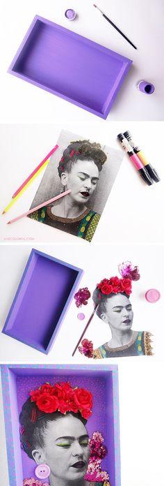 How to Make a Frida Kahlo Nicho (Como hacer un nicho con la fotocopia de Frida Kahlo) | Live Colorful