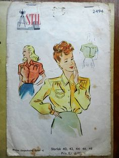 A blouse in fabric 40s Fashion, Sewing Patterns, Retro, Blouse, Fabric, Vintage, Style, Tejido, Swag