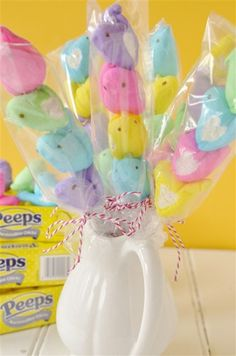 Peeps on a Stick _ Love this... simple adorable Easter