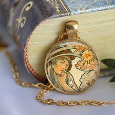 Alphonse Mucha Pendant Necklace Art Nouveau by LiteraryArtPrints  #literary #jewerly
