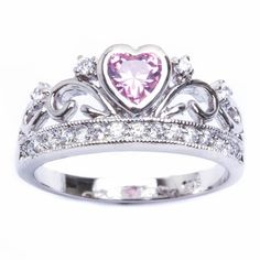 """'Sz 7-8-9 CROWN Claddagh LC Pink Topaz & CZ 925 Ring' is going up for auction soon this afternoon, Sun, Oct 13 in the """"Jewelry Showcase"""" auction with a starting bid of $1."""