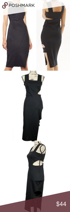 """Topshop Wide Strap Midi Cutout Bodycon Black Sz 6 Topshop Wide Strap Midi Cutout Bodycon Black Sheath Dress Sleeveless Size 6 Stock Number: I1 13a Type: Dress Size: 6 Style: Sheath Brand: Express Material: Polyester Blend Color: Black Measurements Laying Flat: Total Length: 42""""      Armpit to Armpit: 14"""" Condition: NEW - With Tags Topshop Dresses Midi"""