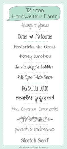 12 Free Handwritten Fonts - A Little Known Craft - I wonder if these work with the Cricut pens? Schriften Download, Blog Fonts, Fancy Fonts, Cute Fonts, Great Fonts, Blogging, Handwriting Fonts, Penmanship, Typography Fonts