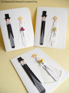 Bride & Groom Card using tongue depressors. Wedding Cards Handmade, Card Box Wedding, Wedding Doll, Wedding Art, Crafts To Sell, Diy And Crafts, Ultimate Wedding Gifts, Paper Crafts Origami, Idee Diy