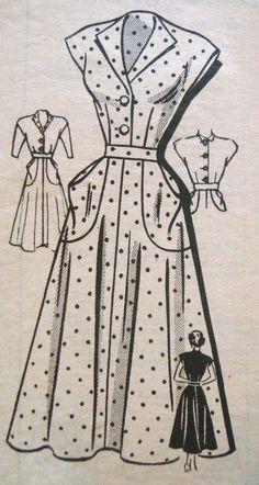 1940s Tea Dress Sewing Pattern Anne Adams 4759