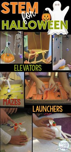 Three STEM Challenges just for Halloween! Build a Pumpkin Elevator, Build a Haunted House Maze, and Build a Pumpkin Launcher!