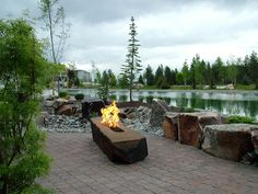 Rock drilled to make hole for fire feature. Basalt Column Fire Rock from Tumble Stone