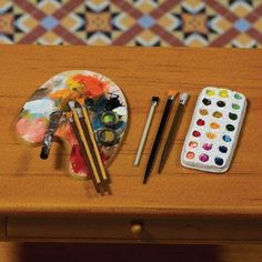 Detail Image of Artists Palette, Brushes and Paints, 5 pcs Miniature dollhouse nursery ideas Vitrine Miniature, Miniature Rooms, Miniature Crafts, Miniature Houses, Miniature Furniture, Doll Furniture, Clay Miniatures, Dollhouse Miniatures, Doll House Crafts