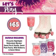 Let's Play Bundle - Comes with Pirouette Nightlight, Rollerskate Warmer and your choice of 3 bars. Order today at www.smellarific.com. Flyer By: Angela O'Hare.