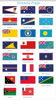 Flags of countries in the Oceania region of the Pacific Ocean. World Flags With Names, All World Flags, Printable Activities For Kids, Printable Worksheets, Free Printable, Countries And Flags, Countries Of The World, World Country Flags, Name Tracing Worksheets