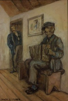 "Jack B. Yeats (Irish, 1871 - ""The Accordion Player,"" watercolor on… Great Paintings, Watercolor Paintings, Irish Painters, Jack B, Architecture Art Design, City Gallery, Samuel Beckett, Dublin City, Irish Art"