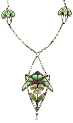 Art Nouveau Silver and Plique-á-Jour Enamel Pansy Necklace circa 1900.