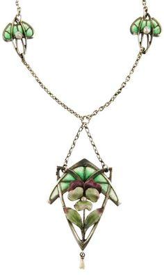 Art Nouveau Silver and Plique-á-Jour Enamel Pansy Necklace circa 1900.