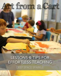 How to organize art supplies and pick the right lessons when teaching art from a cart. Art Organization tips from Deep Space Sparkle