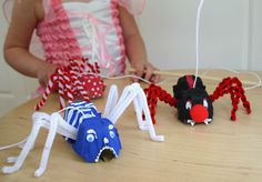 Egg Carton Spider puppets ...scary!