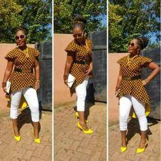 Awesome African Sotho Shweshwe Fashion Dress - Fashion 2D African Symbols, Shweshwe Dresses, African Fashion Ankara, Dress Fashion, Tartan, 2d, White Jeans, Awesome, Fabric