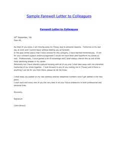 Resignation letter example twowriting a letter of resignation email sample farewell letter to colleaguesgoodbye letter formal letter sample spiritdancerdesigns Images