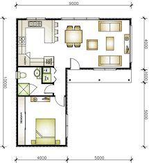 L Shaped 50 Sqm Granny Flat Plan Busqueda De Google House Plans Small House Design Tiny House Floor Plans