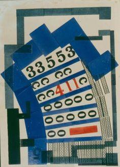 H.N. Werkman, Compositie met cijfers, 1927-1928, 65 x 50 cm, handpers op papier, part. coll.