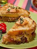 Grilled Ham and Gouda Cheese Sandwich with Caramelized Onions Created ...
