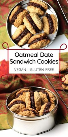 Perfectly spiced oatmeal cookies are filled with a bourbon spiked date spread to make the ultimate vegan and gluten-free Oatmeal Date Sandwich Cookies. Vegan Dessert Recipes, Good Healthy Recipes, Gluten Free Desserts, Whole Food Recipes, Cookie Recipes, Healthy Food, Gluten Free Cookies, Healthy Cookies, Gluten Free Baking