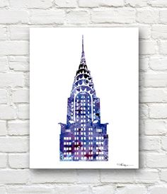 Chrysler Building Art Print -Abstract Watercolor New York City Painting - Wall Decor on Etsy, $12.50