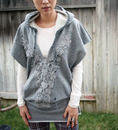 Idea for refashioning a hooded sweat shirt. I like the top part. The bottom...not so much.
