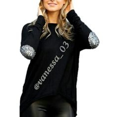 "Bling top with ""glitter"" elbow patches Black bling top with ""glitter"" elbow patches in L.  PRICE FIRM unless Bundled. These are NWOT Retail. Sweaters"