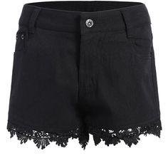Lace Trim Denim Shorts (34 BGN) ❤ liked on Polyvore featuring shorts, jean shorts, denim short shorts, short jean shorts, lace trim shorts and denim shorts