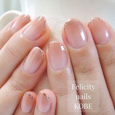 ネイル 画像 Felicity nails神戸 鈴蘭台 1606013 ベージュ グラデーション オフィス ソフトジェル ハンド ミディアム