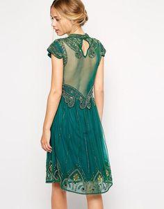 Emerald Art Deco Embellished High Neck Skater Dress with Mesh Back (back)