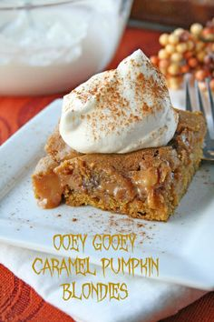 10 tasty pumpkin desserts for the fall.  Wanting to try the Pumpkin-Caramel-Blondies