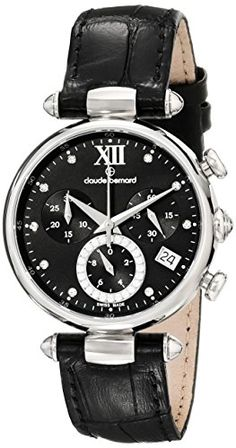 Claude Bernard Women's 10215 3 NPN1 Dress Code Chronograph Analog Display Swiss Quartz Black Watch