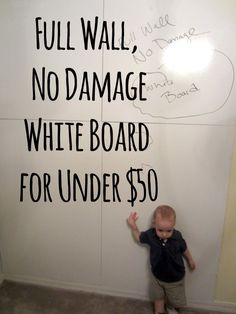 DIY no damage full wall white board for under $50. Homeschool room idea - don't need a full wall but this is much cheaper than a dry erase board at a store!