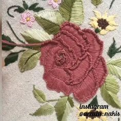 Hand Embroidery Patterns Flowers, Hand Embroidery Videos, Embroidery Stitches Tutorial, Embroidery Flowers Pattern, Hand Embroidery Designs, Creative Embroidery, Simple Embroidery, Paper Embroidery, Silk Ribbon Embroidery