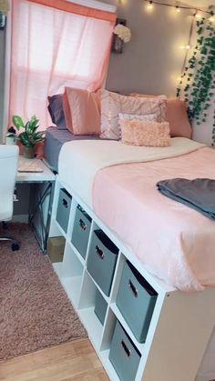 Small Room Design Bedroom, Dorm Room Designs, Cute Bedroom Decor, Bedroom Decor For Teen Girls, Cute Bedroom Ideas, Room Ideas Bedroom, Home Room Design, Teen Bed Room Ideas, Ikea Teen Bedroom